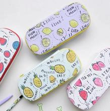 Fresh Fruit Whisper Fabric Large Capacity Pencil Box Desktop Storage Box Tin Pencil Case School Office Supply Gift Stationery