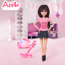 ABBIE Toys Vacuum Cleaner Set With ABBIE Toy Cleaning Fun Battery Operated Real Suction Toy Girl's Christmas Gift(China)