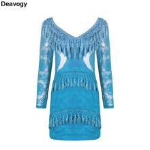 Deavogy 2017 Women Summer Light Blue Long Sleeve Tassel Lace Dress Hot Sale