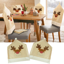 4pcs/lot Christmas Elk Chair Covers Cute Deer Chair Cover For Dinner Decor Home Decorations Ornaments Supplies Wholesale