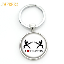 TAFREE Brand I Love Fencing vintage men keychain women casual spoets lover jewelry fencing club gifts key chain ring holder SP81