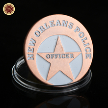 WR New Orleans Police Pink Copper Plated Commemorative Coin Home Decor US Officer Design Brass Coin for Collection(China)