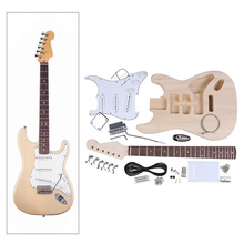 High Quality DIY Electric Guitar Kit Set Durable Basswood Body Maple Neck Rosewood Fingerboard with Accessories