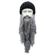 High Quality Women Men's Warm Wool Handmade Beanie Viking Beard Face Mask Crochet Winter Ski Cosplay Prop Caps Hats Funny Gift(China)