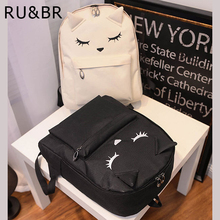 RU&BR Cute Cartoon Embroidery Cat Ear Printing Backpack College Style Casual Korean Canvas Backpacks Teenage Girls - JustSuper Store store