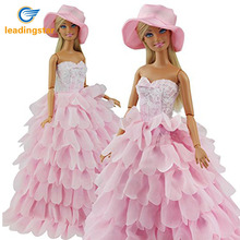 LeadingStar Evening Dress For Barbie Doll 8 Layers Wedding Dress Furniture For Doll Clothes For Barbie Doll Accessories With Hat(China)