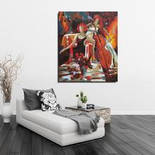 woman Musical Instruments Violin drink Man Figure Painting Abstract Canvas Oil painting Frameless Spray drawing Home decor art