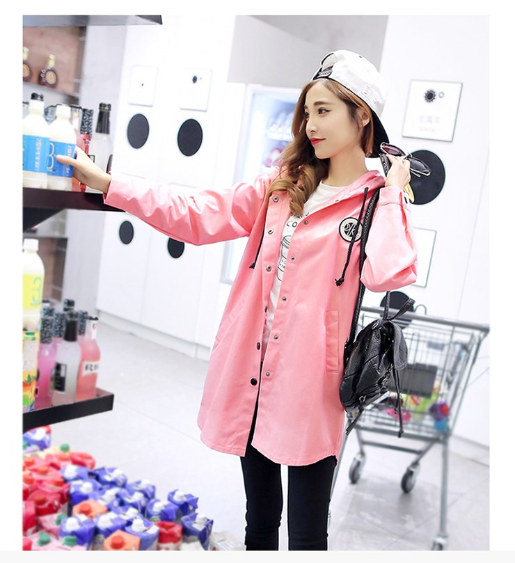 Jackets Women 2019 New Winter Fall Women\`s Basic Jacket Letter Print Coats Outwear Windbreaker Jacket Hooded Chaquetas Mujer (4)