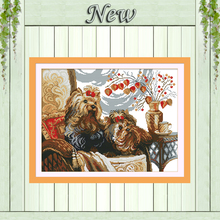 two lovely dogs on the sofa,Counted pattern Printed on fabric DMC 11CT 14CT Chinese Cross Stitch kits Needlework Sets Embroidery(China)