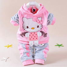 2017 Spring baby 2pic suit set tracksuits Girl  clothing sets velvet Sport suits hoody jackets +pants freeshipping
