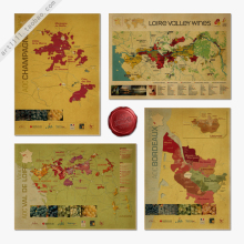 France red wine region map retro nostalgic kraft paper poster 42 x 30CM(China)