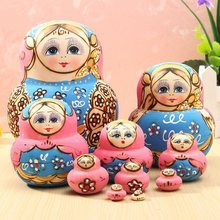 10Pcs/set Blue Doll Wooden Russian Nesting Babushka Matryoshka Doll Sets Toys For DIY Hand Painted Gift For Children Adult