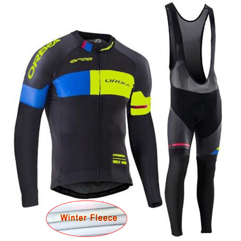 Orbea 2017 Cycling Jerseys Cycling Set Winter Thermal Fleece Long Sleeves Racing MTB Suit Maillot Bike Clothing Ropa Ciclismo W9<br>