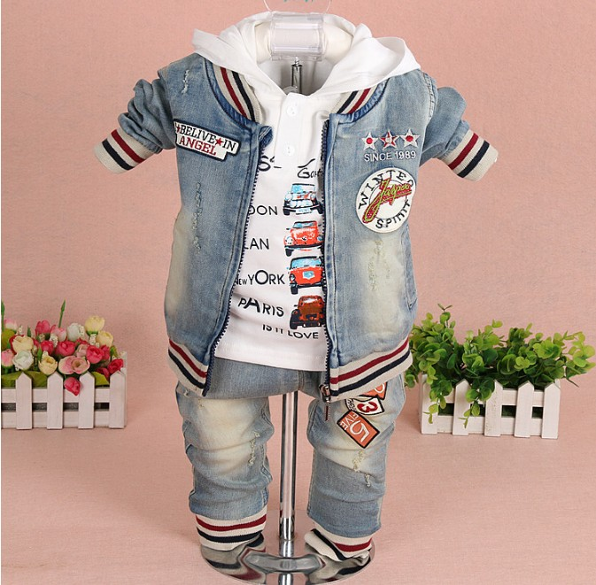 new 2017 spring boys letter embroidery denim clothing sets 3pcs boys t shirt clothes sets boys casual suit kids handsome suit<br>