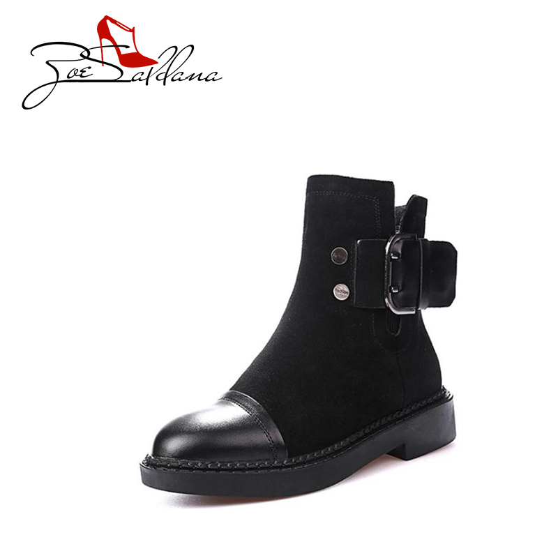Zoe Saldana 2017 Round  Toe Suede  Sewing Platform Patchwork Zipper Metal Buckle Winter Boots Women Shoes <br>