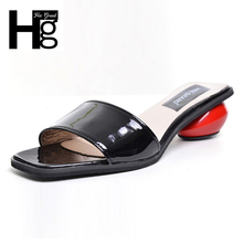 HEE GRAND Summer Women's Slippers 2017 Sweet Platform Round Heel Shoes Black White Woman Slides Size 35-39 XWT631(China)