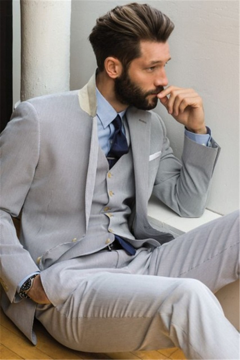 Light Gray Men Suits Notch Lapel Two Buttons Terno Slim Fit Tuxedos Custom Marriage Homme (Jacket+Pant+Vest+Tie+Handkerchiefes)