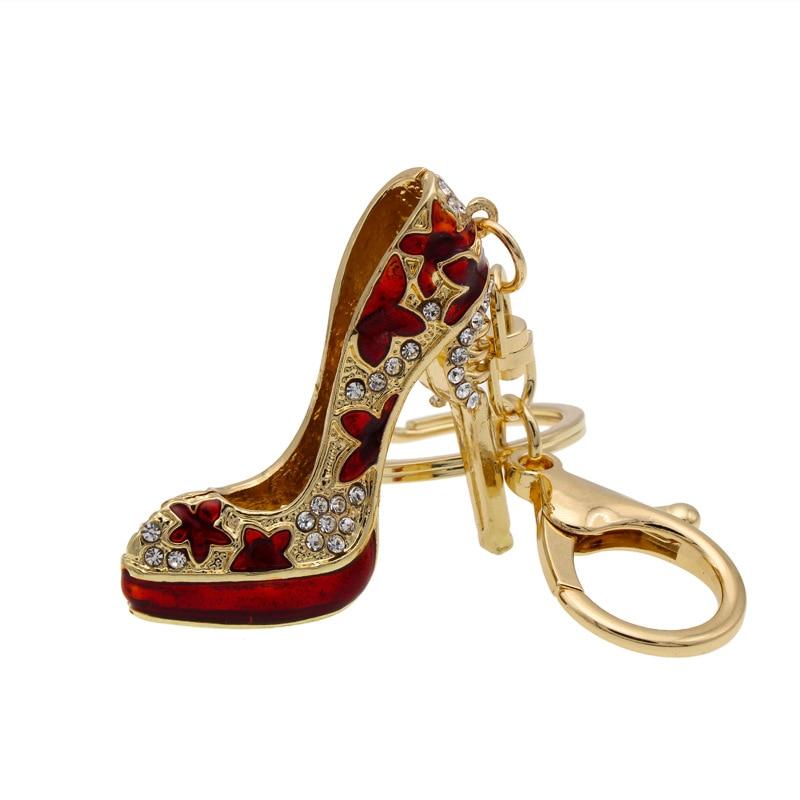 Enamel Women Handbag Keychain Crystal Golden High Heeled Shoes Keys Ring