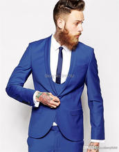2016 Hot sale Custom made Royal Blue Groom Tuxedos Shawl Lapel Men's Wedding Suits Slim Fit One Button Groomsmen Suits With Pant(China)