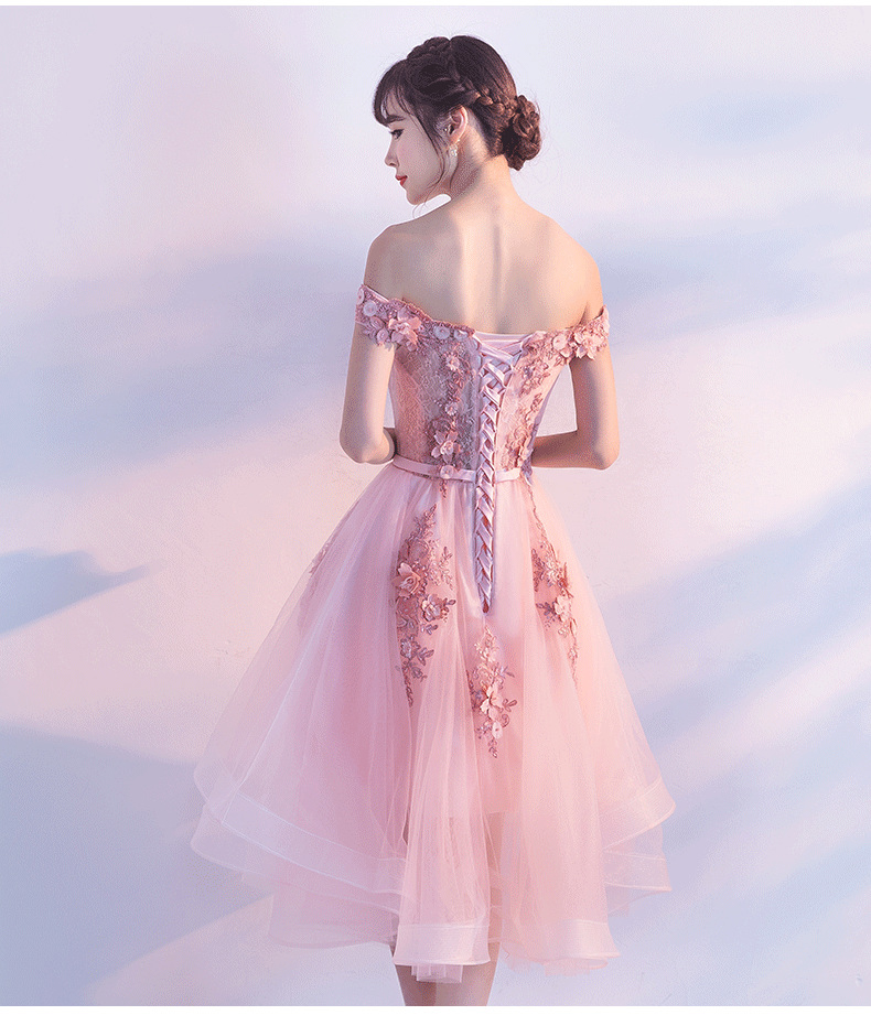PotN'Patio Luxury Appliques Flower Beading Off Shoulder Sleeveless Pink High Low Bridesmaid Dresses 2017 New Wedding Party Dress 7