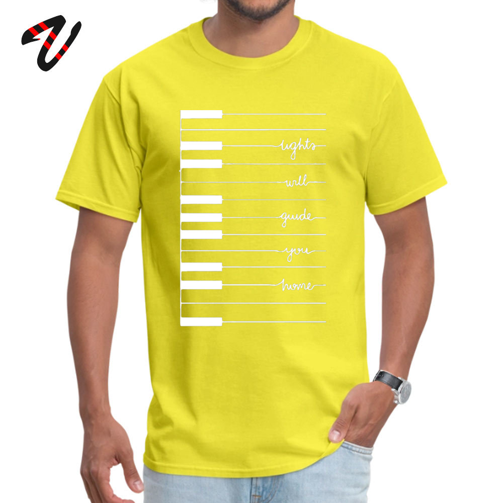 Man Cute Funny T Shirt Round Neck VALENTINE DAY 100% Cotton T Shirts Unique Short Sleeve Fitness Tight Tops Tees lights will guide you home 12521 yellow
