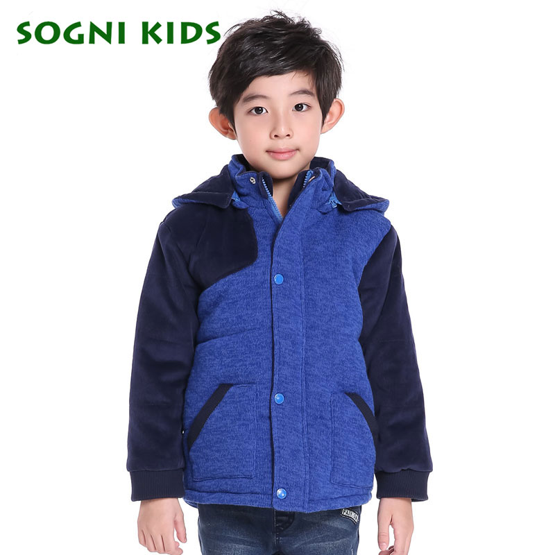 For 1-5 Yrs Children Baby Boys Winter thick hooded cotton padded jacket coat clothes kids boys warm Patchwork knitwear outerwear<br>