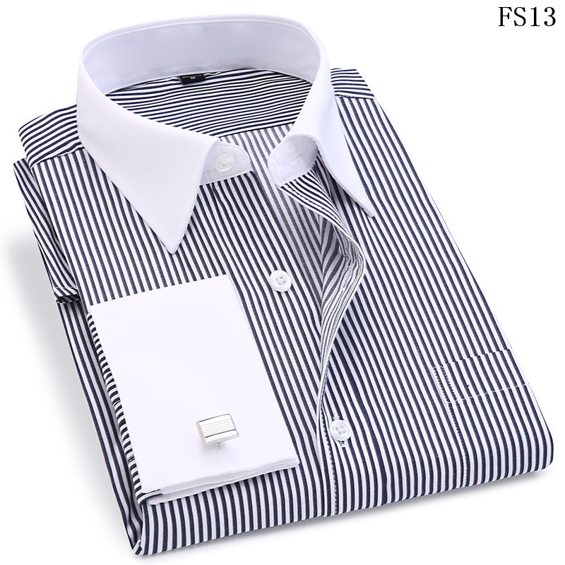 Men French Cufflinks Shirt 19 New Men's Stripes Shirt Long Sleeve Casual Male Brand Shirts Slim Fit French Cuff Dress Shirts 9