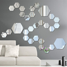 12 Pieces / Pack Hexagonal Home Decor Wall Stickers 3D DIY Acrylic Mirror Art Wall Sticker Living Room Home Decoration(China)
