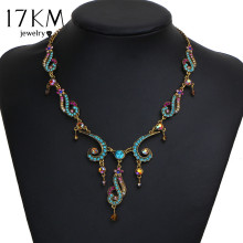 17KM New Vintage Colorful Crystal Tassel Flower Statement Necklace for Women Gold Color Pendant Collar Maxi Ethnic Jewelry(China)