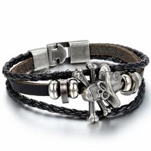 Fashion Jewelry Leather Bracelet Mens Piece Skull Bracelets Braided Women Gift Black / Brown pulseira masculina couro(China)