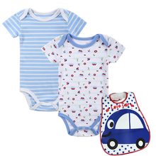 Mother nest 3 Sets Newborn 2 PICS Baby Bodysuits+1 PIC Bib Boys Girls Clothes Children Jumpsuit Baby Stripe onesie(China)