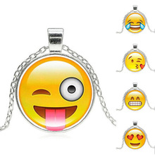 New Brand Jewelry 18 Style Silver Plated with Glass Cabochon Cute Emoji Pattern Choker Long Pendant Necklace for Women Gift