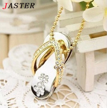 JASTER crystal slippers USB Flash drive Memory stick Pen Drive usb Stick 4GB 8GB 16GB 32GB Pendrives girl's gift beauty shoes(China)