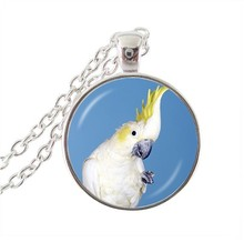 Womens jewellery white parrot pendant necklace silver chain statement necklace glass cabochon pendant for bird lover's gifts(China)
