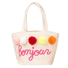 Summer Straw Handbags for Women Pom Ball Letter Design Beach Bag Boho Woven Shoulder Bags Basket Party Market Shopping Tote A25