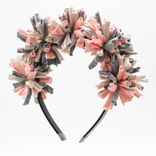 New spring summer colorful cotton pompom shag full head girls fashion headband with no wrinkle band(China)