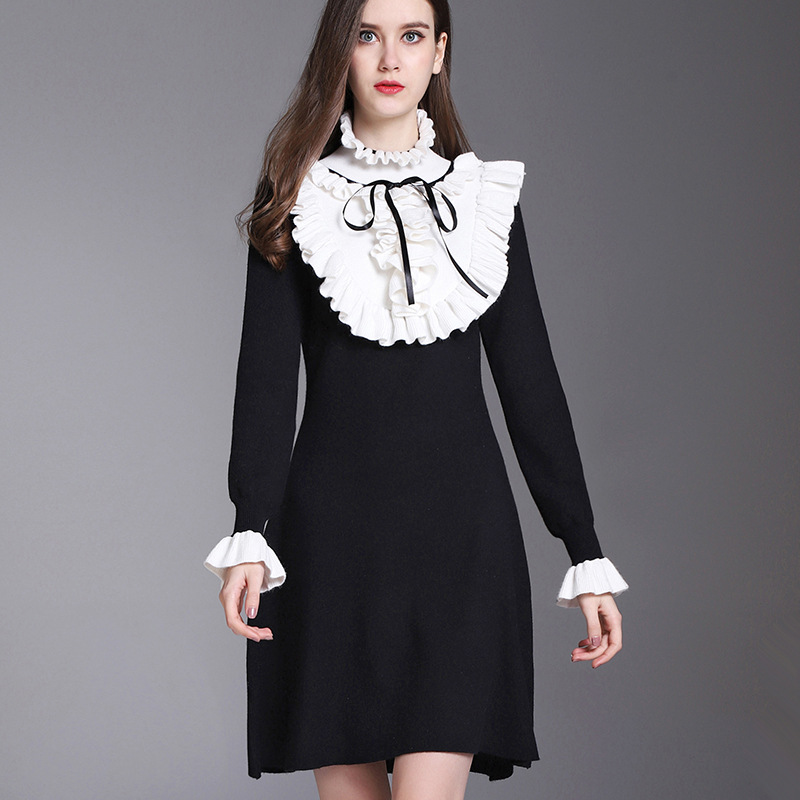 New Vintage England Style Women Knitted Dresses 2018 Summer Lady Mini Party Dress Ruffled Turtleneck Vestidos Female ClubwearÎäåæäà è àêñåññóàðû<br><br>