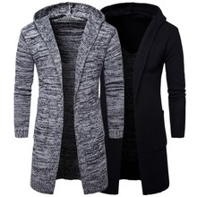 2017 Fashion Men's Winter Warm Sweaters Long Cardigans Man Hooded Outwear Coat Knitted Sweaters For Male 2 Color Thick Jackets(China)