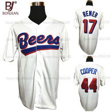 Cheap 17 Doug Remer, 44 Joe Cooper BASEketball Milwaukee Beers Movie Button Down Jersey Stitched Throwback Baseball Jerseys