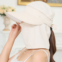 Fashion Women's Foldable Sun Hat UV Protection Wide Brim Sun Hat Face Neck Protection Summer Hat Beach Dual use F0127(China)