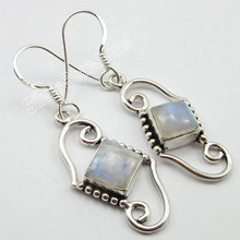 Chanti International WELL MADE Earrings, Solid Silver RAINBOW MOONSTONE Jewelry 4.2 CM 4.5 Grams(China)