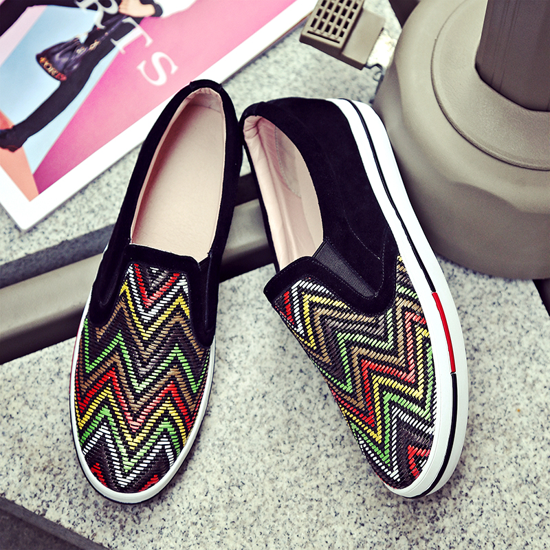 Womens Calorful Patchwork Genuine Leather Slip-ons Loafers Brand Designer Leiaure eEspadrilles Female Footwear Shoes Moccasins<br><br>Aliexpress