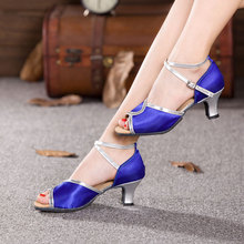 New Style Women Ladies Girl's Satin Latin Tango Dance Shoes Open Toe Ballroom Party Salsa Dancing Heels Indoor Suede Sole Shoes