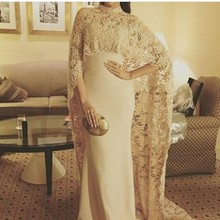2017 Dubai Caftan Ivory Formal Evening Dresses With Wrap Mermaid Lace Evening Dress Saudi Arabic Evening Gowns