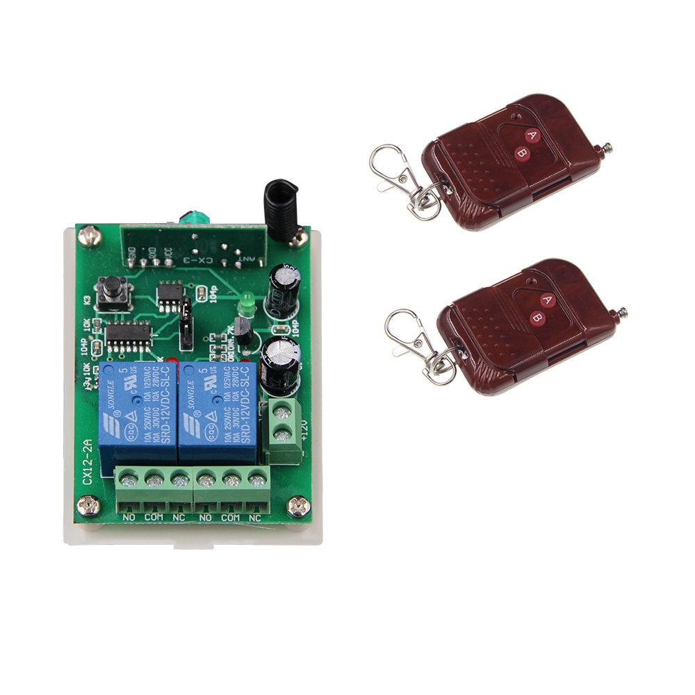 DC 12V 24V 2 CH 2CH RF Wireless Remote Control Switch System,2 Transmitters+Receiver,315/433.92MHZ<br><br>Aliexpress