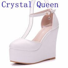 Crystal Queen White Sexy Women Wedges Sandals Extreme 13CM High Heels Ladies Platform Shoes Woman Summer style Pumps Party Shoes(China)