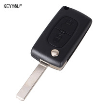 KEYYOU 2 Button Remote Flip Folding Key Shell Case For Peugeot 207 307 308 407 807 With LOGO Free Shipping
