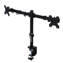 "Single Dual LCD Monitor Desk Stand Mount Backet Fully Adjustable Screen up to 27"" for Computers TV Universal Metal Shelf Bracket"