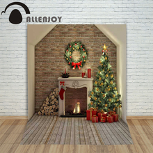 Background photography studio Christmas Wooden fireplace xmas present background photo shoots children's new year - Allenjoy Store store