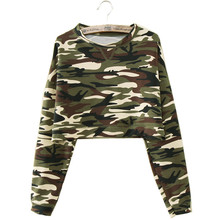 M/L/XL Fashion New Women Casual Camouflage Long Sleeve T shirts Long Sleeve Crop Top Camouflage Hoodies High Waist Pullovers(China)